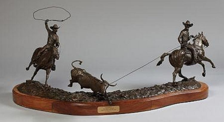 Legends of Rodeo - Ben Johnson and Joe Crow, Pardners by Edd Hayes - search and link Sculpture with SculptSite.com