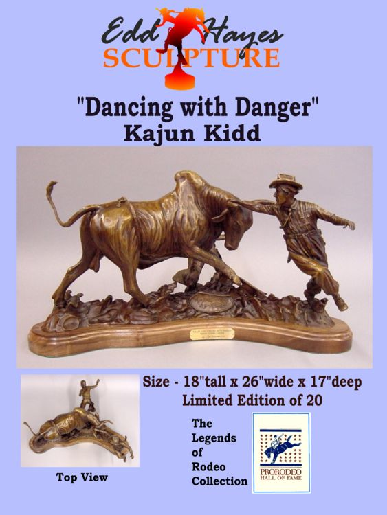 Legends of Rodeo - Kajun Kidd, Dancing with Danger by Edd Hayes - search and link Sculpture with SculptSite.com