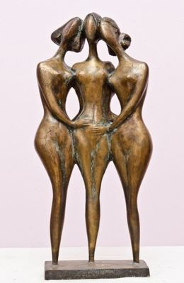 ..Three friends 1999year.bronza..56x28x16sm. by Zakir Ahmedov - search and link Sculpture with SculptSite.com