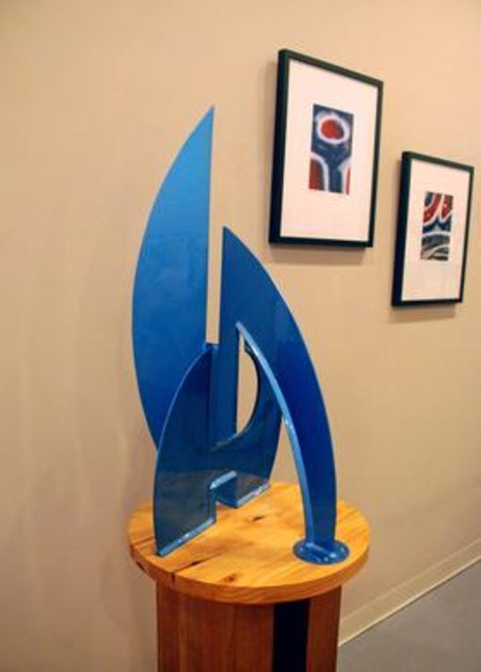 After the Race II I-32in Buckingham Blue by Gilbert Boro - search and link Sculpture with SculptSite.com