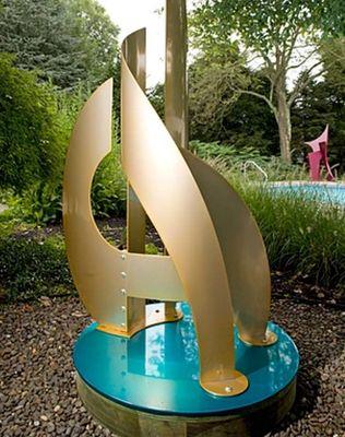 Regatta II/6' Brass & Teal by Gilbert Boro - search and link Sculpture with SculptSite.com