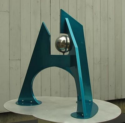 """Wind I/32"""" Teal & Polished Steel by Gilbert Boro - search and link Sculpture with SculptSite.com"""