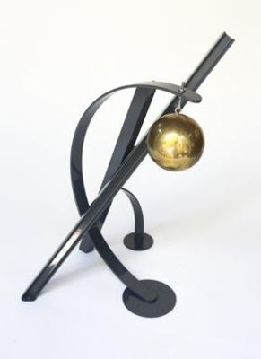 """Ball, Beams & Curves I/18"""" Slate Gray by Gilbert Boro - search and link Sculpture with SculptSite.com"""
