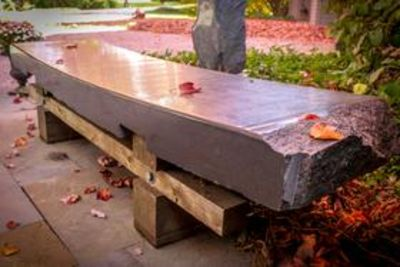 Granite Wood Bench III by Gilbert Boro - search and link Sculpture with SculptSite.com