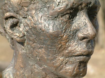 Self-portrait  Falling Out Slowly by Eva Karcag - search and link Sculpture with SculptSite.com