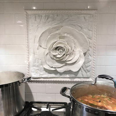 Camellia Tile by Carol Fleming - search and link Sculpture with SculptSite.com
